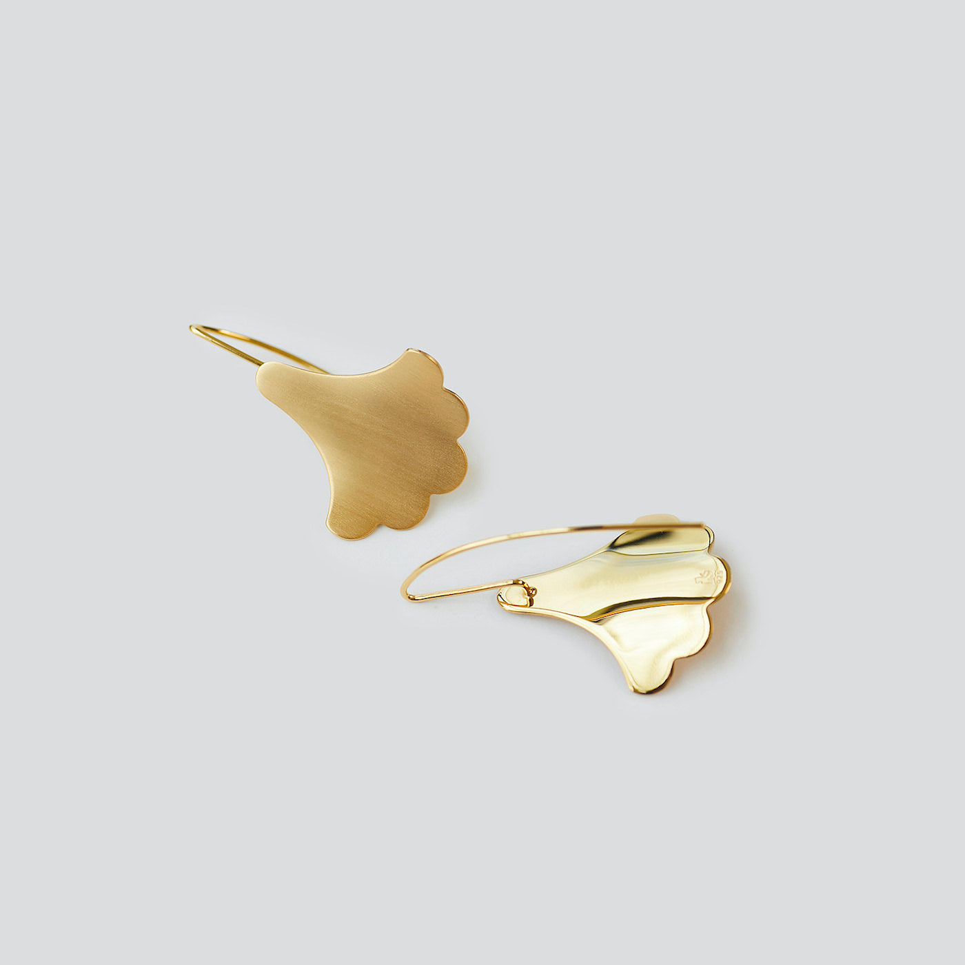 Plume Hook Earrings in 18K gold vermeil on white background