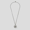 Silver precious coin necklace on white background