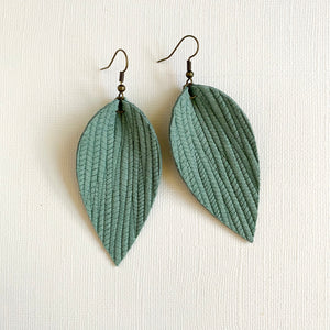 Seafoam Green Leather Leaf Earrings