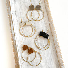 Load image into Gallery viewer, Brass hoop earrings for women with leather accent