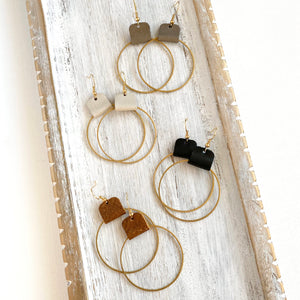 Brass hoop earrings for women with leather accent