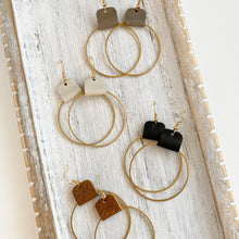 Load image into Gallery viewer, Neutral hoop earrings for women with leather accent