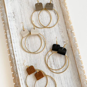 Neutral hoop earrings for women with leather accent