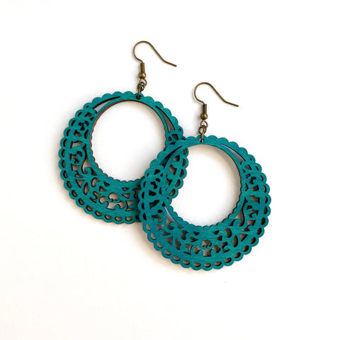 TEAL ROUND WOOD EARRINGS