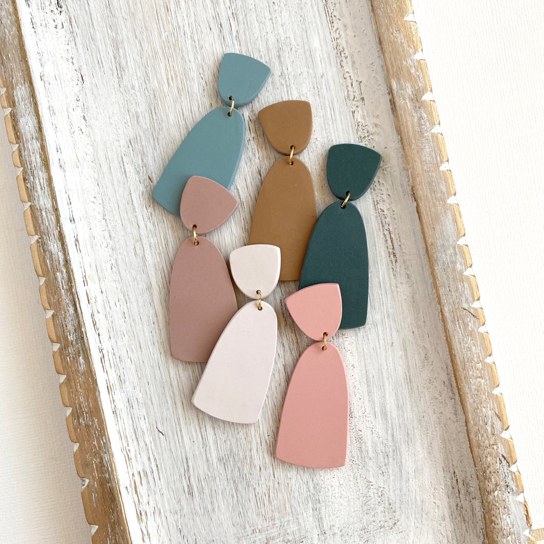 Column Dangle Clay Earrings