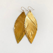 Load image into Gallery viewer, Metallic Leather Feather Earrings