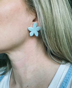 Powder Blue Flower Clay Stud Earrings