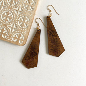 Sunflower wooden earrings with 14kt gold-filled ear wires