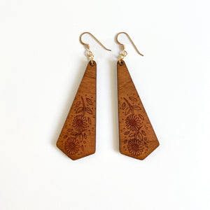 SUNFLOWER WOOD EARRINGS