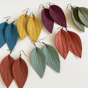 Lightweight fall leather earrings handmade by Jenny Drake Designs in Georgia, USA