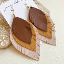 Load image into Gallery viewer, Layered leather feather earrings in tan, blush pink and mustard