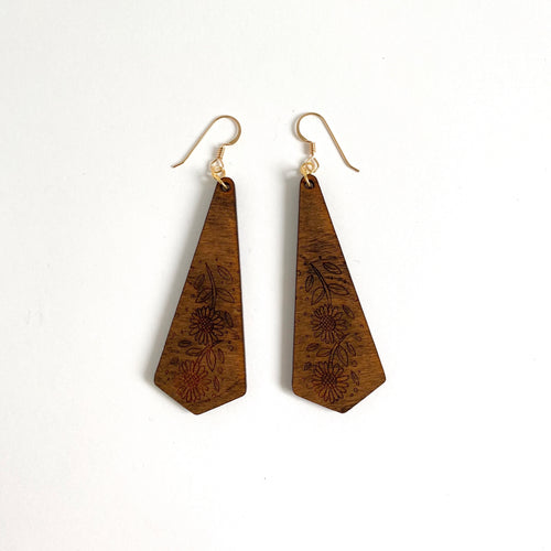 SUNFLOWER DARK WOOD EARRINGS