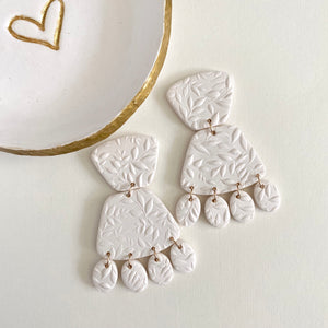 Creamy white bridal clay statement earrings with 14kt gold filled ear wires