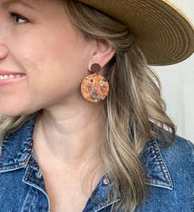 FALL FLOWERS Circle Cork Leather Earrings
