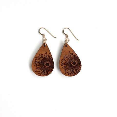 TEARDROP SUNFLOWER WOOD EARRINGS