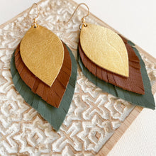 Load image into Gallery viewer, FREEBIRD Leather Feather Earrings