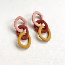 Load image into Gallery viewer, Clay chain earrings in terracotta and mustard yellow