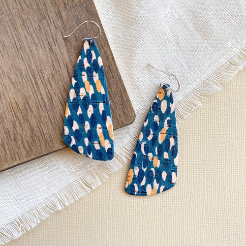 Peacock Sloped Triangle Leather Earrings