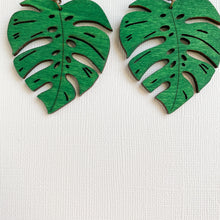 Load image into Gallery viewer, WOOD MONSTERA LEAF EARRINGS