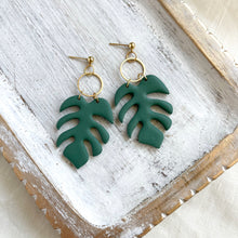 Load image into Gallery viewer, Green tropical leaf dangle earrings