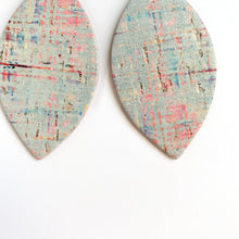 Load image into Gallery viewer, MINT CORK LEATHER PETAL EARRINGS