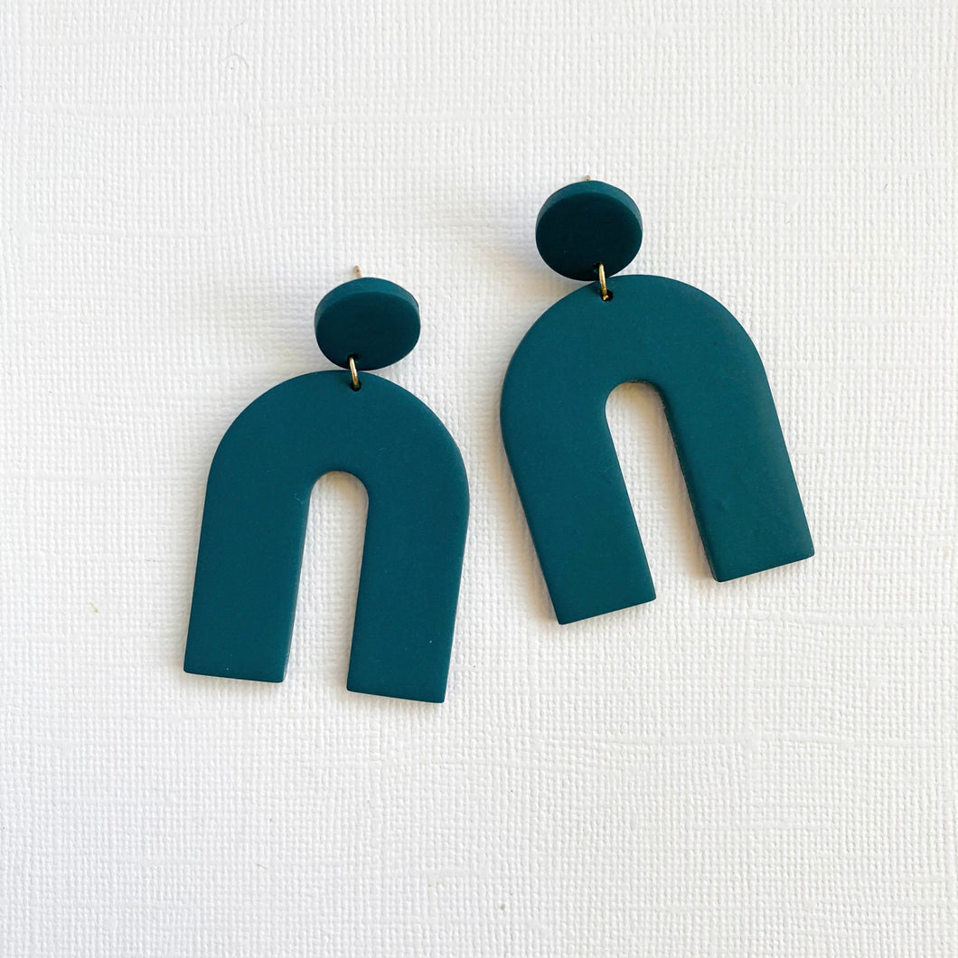 Teal polymer clay earrings in U shape with 14kt gold filled posts