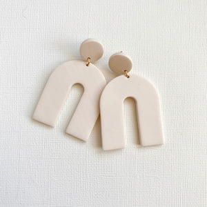 Off-white clay earrings with nickel free posts handmade in Georgia