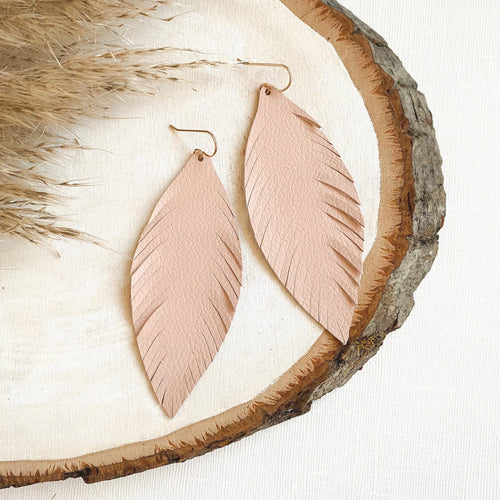 Light Blush Pink Leather Feather Earrings