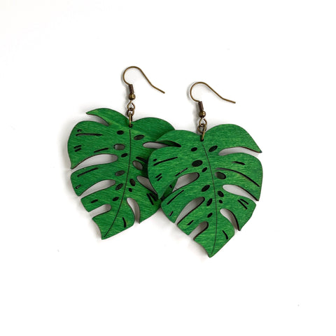 WOOD MONSTERA LEAF EARRINGS