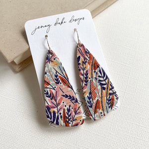 Wildflower floral leather earrings with sterling silver ear wires