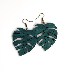 MONSTERA LEAF WOOD EARRINGS