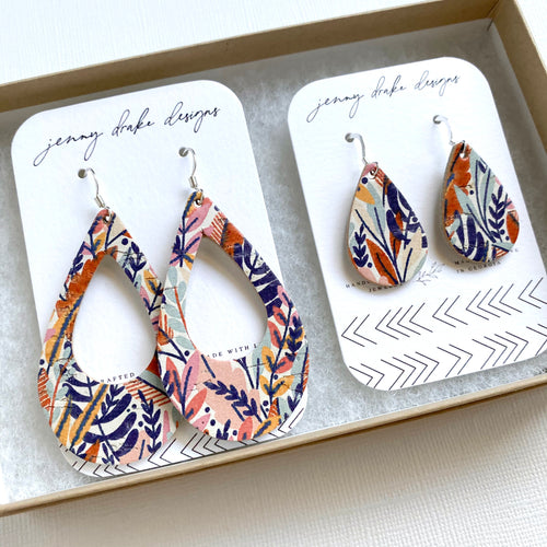 Mom and Mini Leather Teardrop Earring Set in fall floral colors