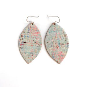 MINT CORK LEATHER PETAL EARRINGS