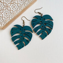 Load image into Gallery viewer, MONSTERA LEAF WOOD EARRINGS