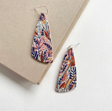 Load image into Gallery viewer, Floral leather earrings with sterling silver ear wires