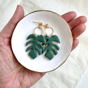 Green monstera leaf clay earrings with nickel free posts