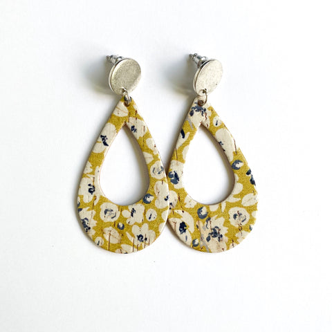 YELLOW FLORAL CORK TEARDROP EARRINGS
