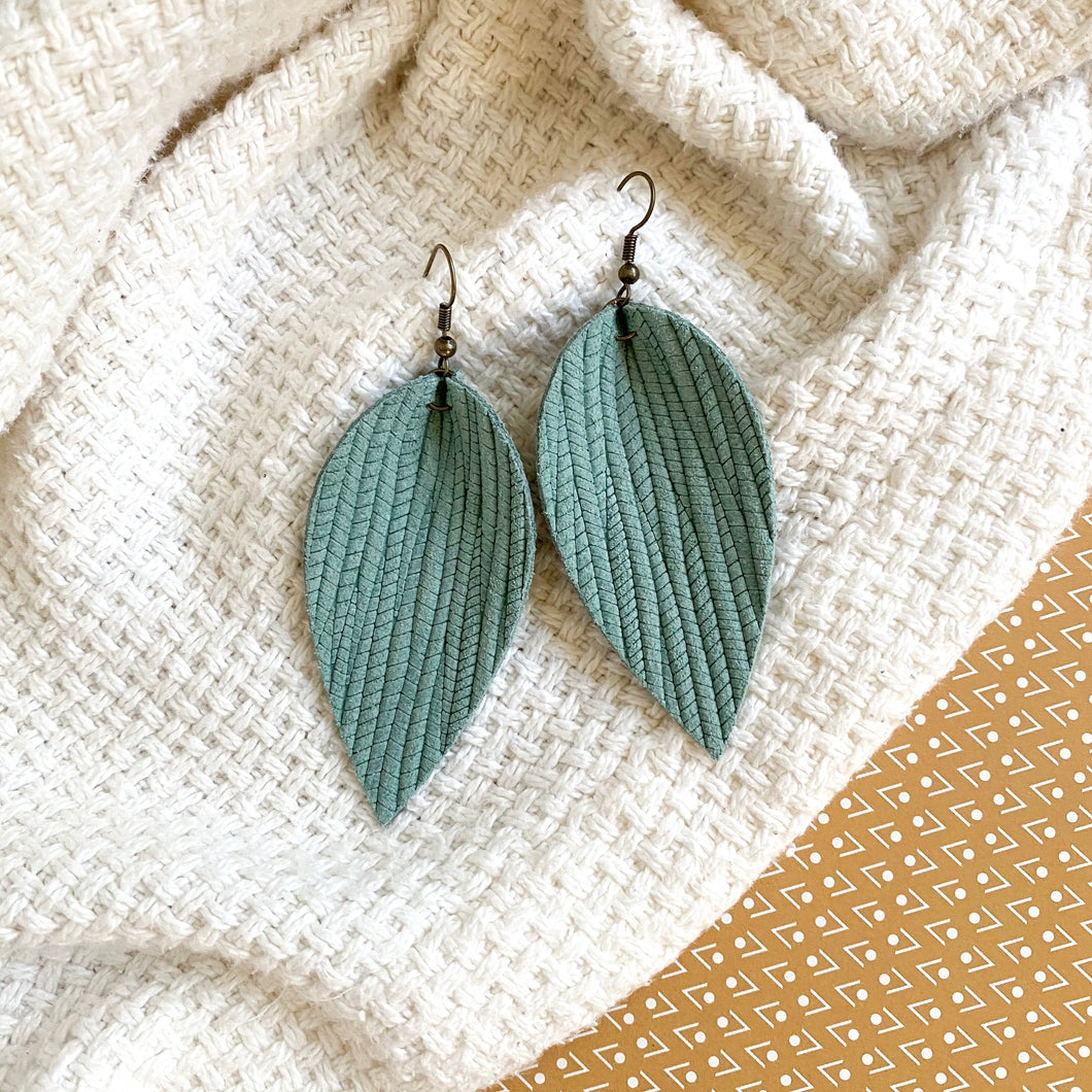 Seafoam green lightweight leather leaf earrings with nickel free ear wires