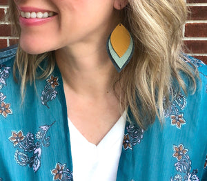 Sienna and Blush Pink Leather Feather Earrings | FREEBIRD