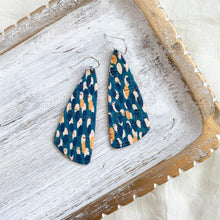 Load image into Gallery viewer, Peacock Sloped Triangle Leather Earrings