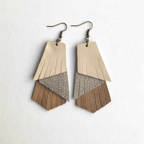 TRIPLE LAYER TAN LEATHER EARRINGS