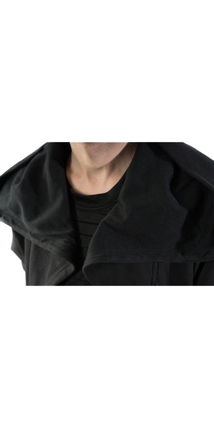 Hoodie Jacket Black Mesh Up