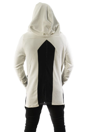 Hoodie Jacket White Mesh Up
