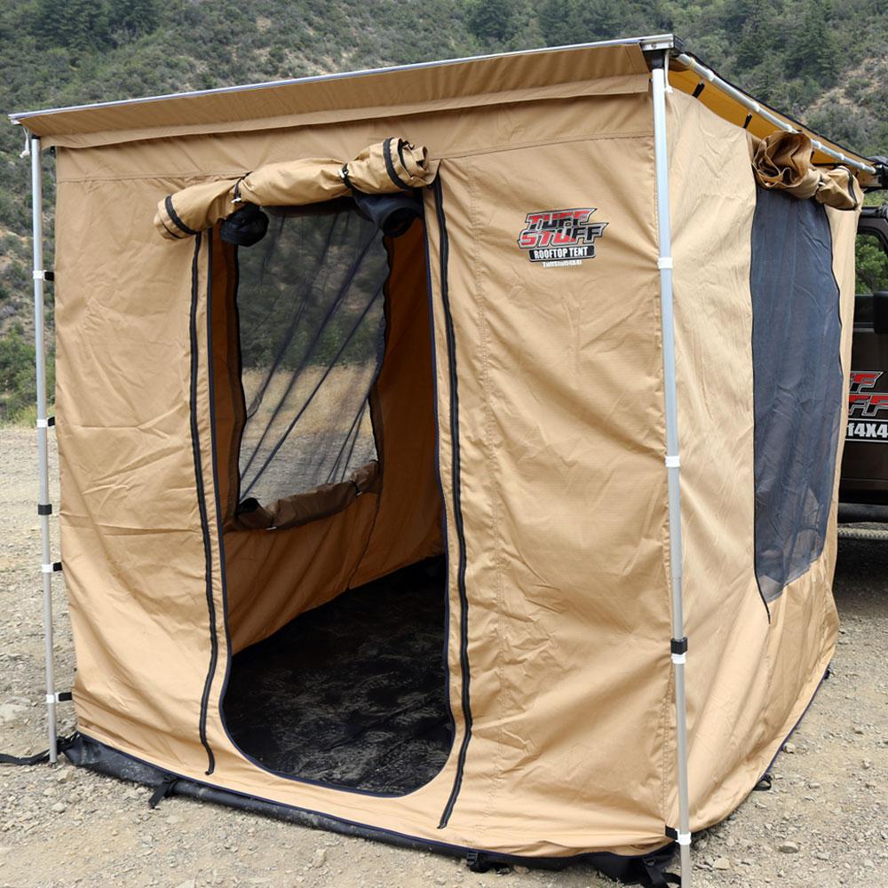 Can be used as a standalone shelter or installed on our 6.5 x 8 awning Adjustable height