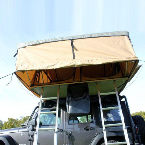 "The Tuff Stuff® ""Elite"" Roof Top Tent, 5 Person comes with 2 retractable ladders."