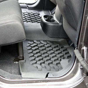 Raised Lip Contains Spills, mud, sand & snow Heavy duty Thermoplastic construction Complete Set- Includes front & rear mats 3 Year Tuff Stuff® Warranty