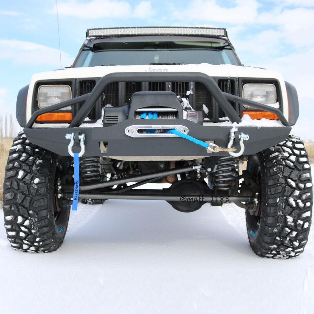 Mount any winch (up to 13,000Lbs) with no obstructions Texture powder coated for maximum protection