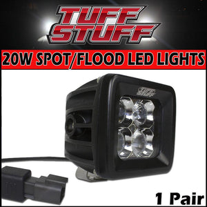 "Tuff Stuff® LED Cube Lights 2"" × 2″ Flood/Spot Beam, Flush Mount Back-Up Light, 20 Watt/1,860 Lumens (Single) - Tuff Stuff 4x4 & Tuff Stuff Overland"
