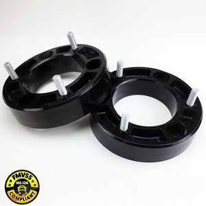 MADE IN THE USA NO WELDING OR FABRICATION NO PRE-LOAD ON THE SHOCK TOP MOUNT ASSEMBLY ONLY- NO LOWER SPACER NECESSARY NEW HIGH STRENGTH HARDWARE INCLUDED WILL NOT DETERIORATE AND CRUSH OVER TIME LIKE RUBBER KITS FMVSS 126 COMPLIANT (will not affect stabilitrac on certain equipped vehicles)