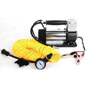 "Portable Air Compressor Features Fully inflates up to a 33"" tire in 3 minutes or less Up to 1.35 CFM airflow"